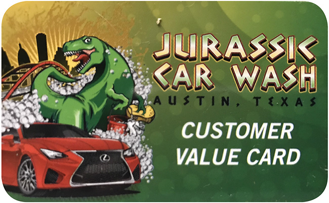 Jurassic Car Wash Customer Value Card